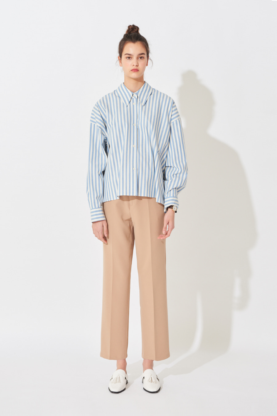 유라고 URAGO Jane Parky striped shirt