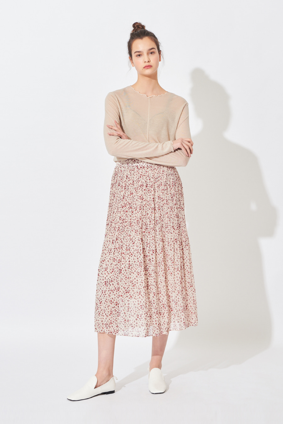 유라고 URAGO Rev Flower Pleated Skirt