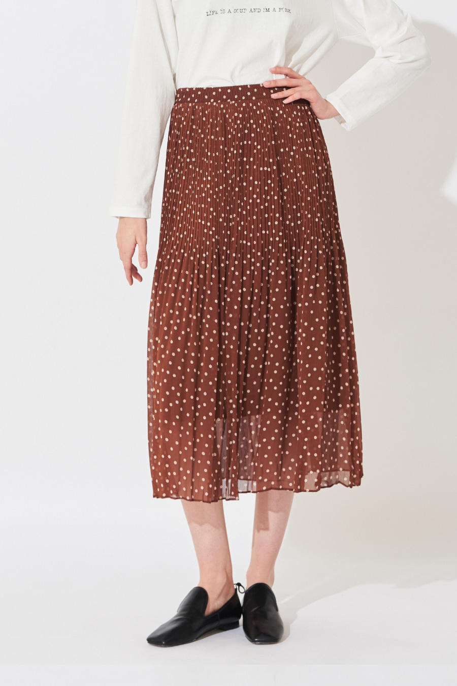 유라고 URAGO Dot pleated skirt