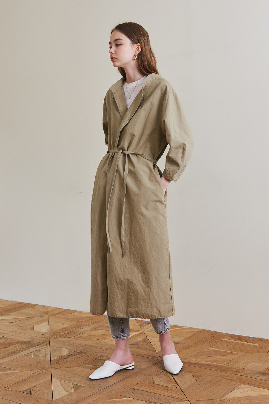 유라고 URAGO Modern Long Linen Jacket