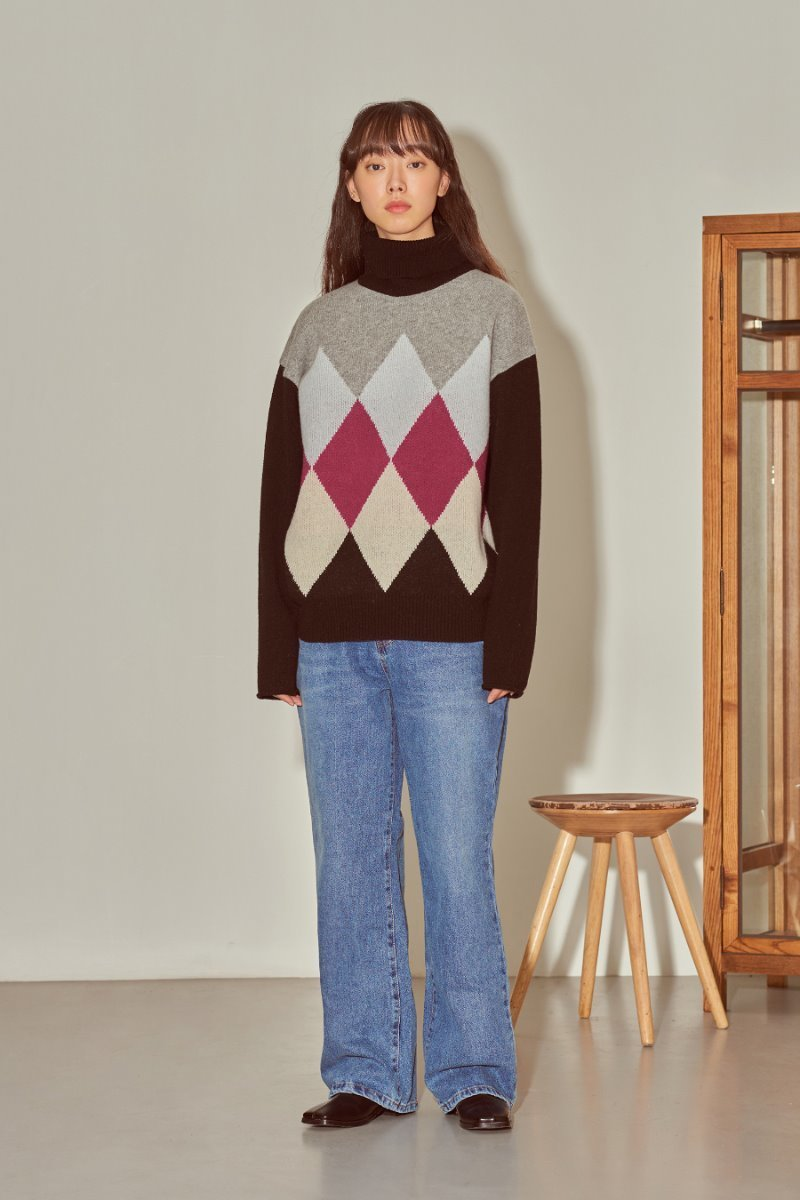 유라고 URAGO Argyle turtleneck knit