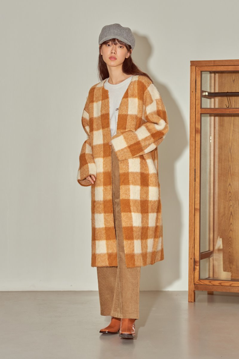 유라고 URAGO Square jacquard long cardigan